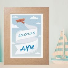 Personalised Aeroplane Print - New Baby Boy Gift or Christening Keepsake